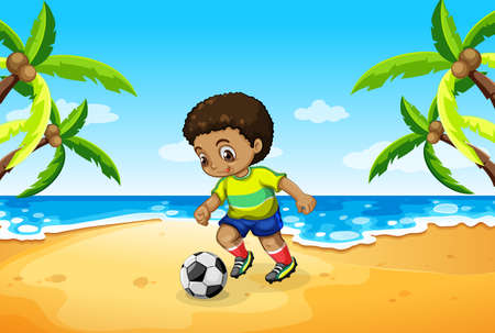 A boy playing football at the beach illustration Illustration
