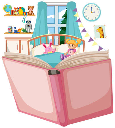 Open book with bedroom theme illustration