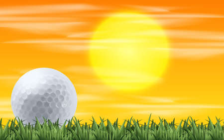 Golf with sunset view illustration