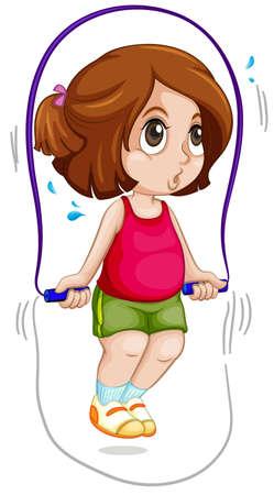 Una niña salta la cuerda ilustración