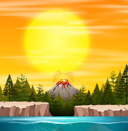 A nature sunset scene illustration