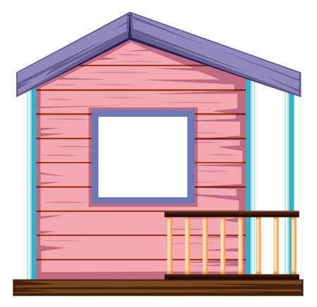 Illustrazione di casa cubby rosa isolata Vettoriali