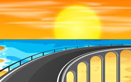 A highway road to the beach illustration Ilustrace