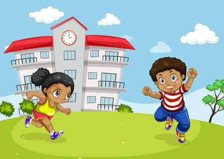 African kids in front of school illustration 일러스트