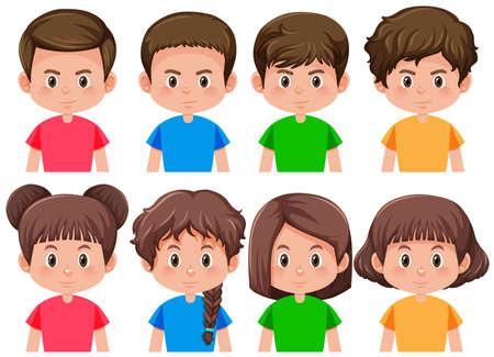 Ensemble d'illustration de garçons et de filles Vecteurs