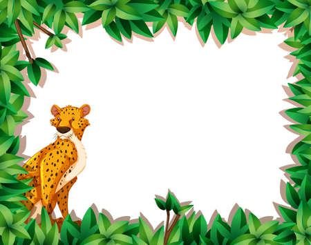 A cheetah in nature frame illustration