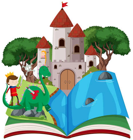 Open book fairy tale  theme illustration