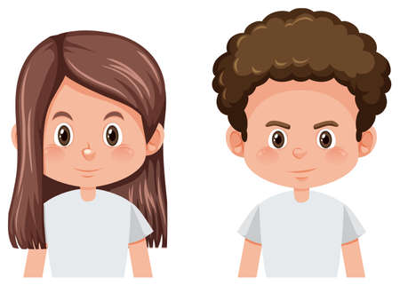Set of male and female hairstyle illustration