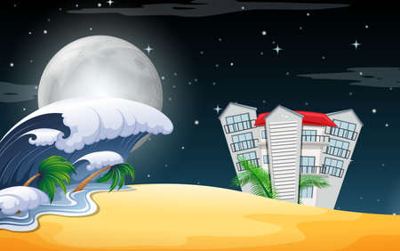 A beach resort scene at night illustration Ilustrace