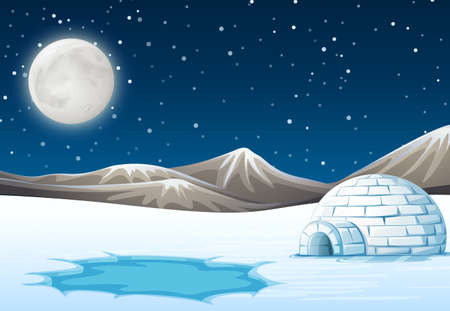 A night north pole background illustration