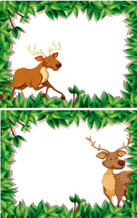 Set of deer in nature frame illustration