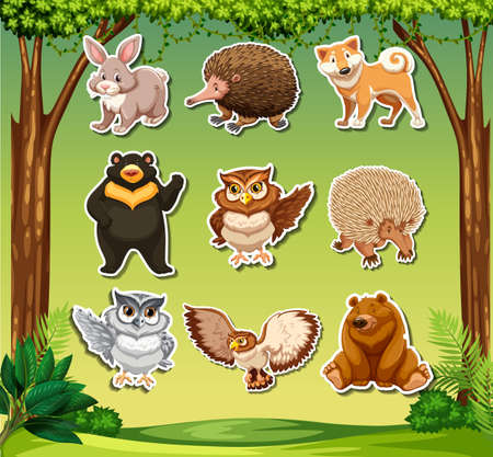 Wild animal sticker tehmplate illustration Illustration