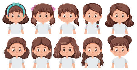 Set of girl different hairstyle illustration
