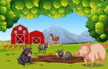 Farm scene with animals illustration Ilustrace