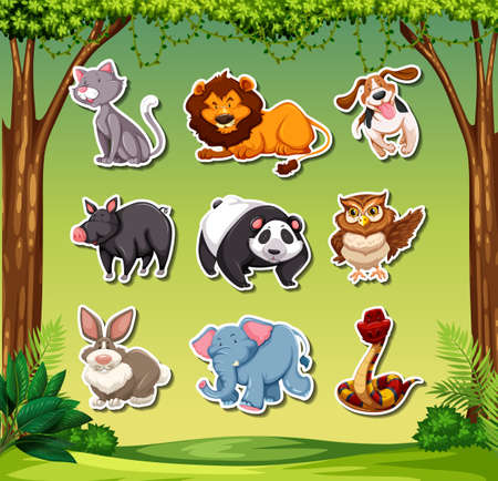 Set of different animals stickers illustration