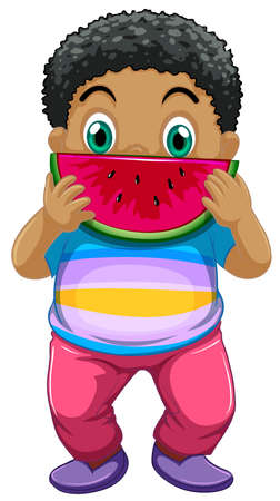 African kid eating watermelon illustration