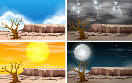 Set of dryland landscape illustration Ilustrace