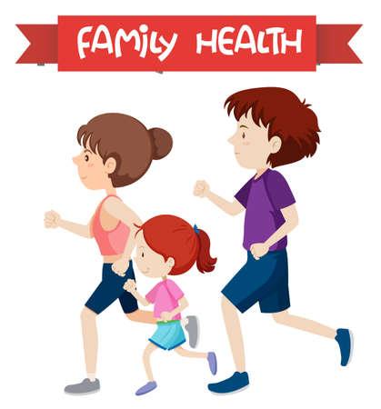 A healthy family jogging illustration Illustration