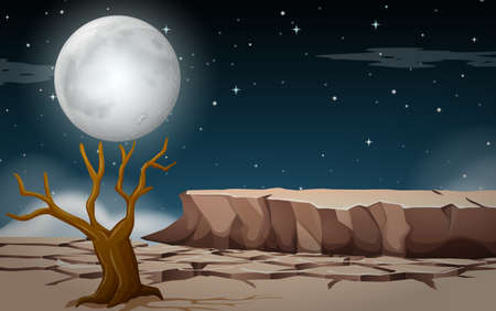 A droughty land at night illustration