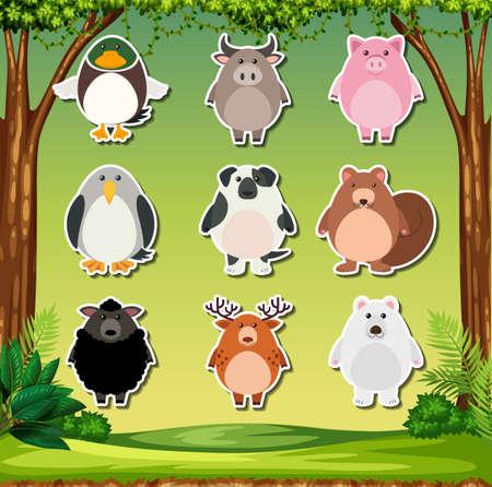 Set of animal stickers illustration Stock Illustratie