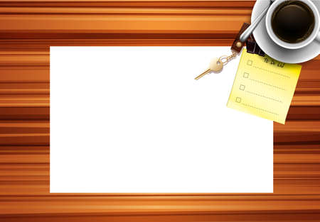 Blank paper desk background illustration Çizim