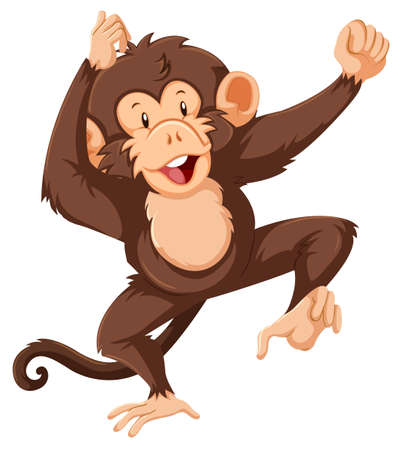 A Monkey character on white backgrond illustration Иллюстрация