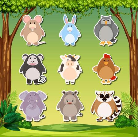 Animal sticker pack set illustration