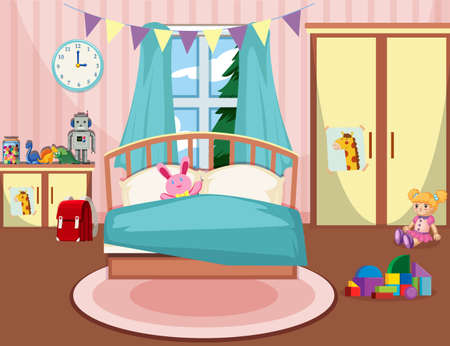 Interior of girls bedroom illustration