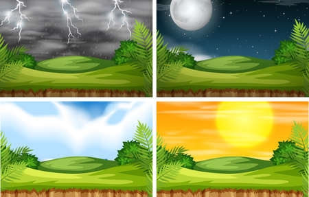 A nature landscape with different climate illustration