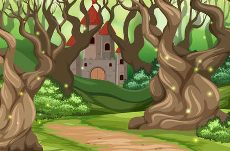 A castle in the forest illustration