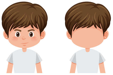 Set of young boy character illustration