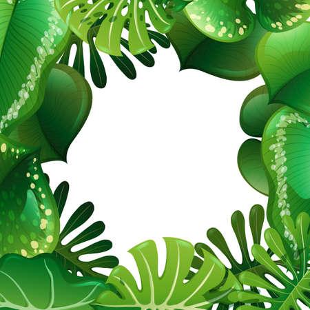 A green nature leaf border illustration Çizim