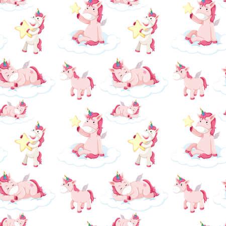 Seamless pattern of pink unicorns illustration Stock Illustratie