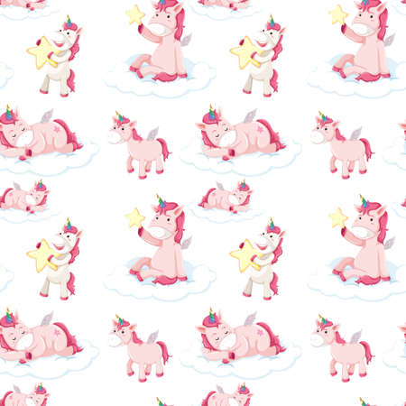 Seamless pattern of pink unicorns illustration Иллюстрация
