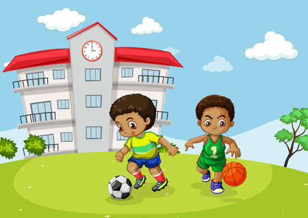 African kid playing sport infront of school illustration