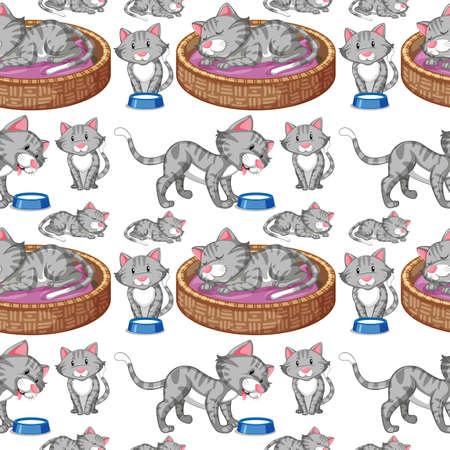 Cat on seamless background illustration Иллюстрация