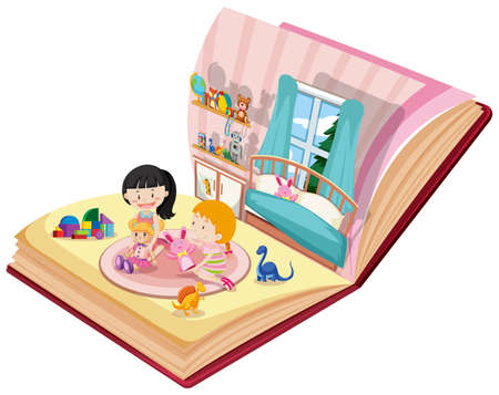 Girls playing in bedroom on the book illustration Ilustrace