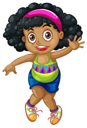 Un'illustrazione del personaggio di una ragazza africana Vettoriali