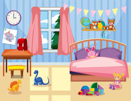 A kids bedroom interior illustration 向量圖像
