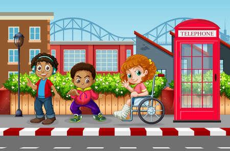 Children in the urban city illustration  イラスト・ベクター素材