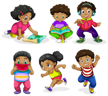Set of african children illustration