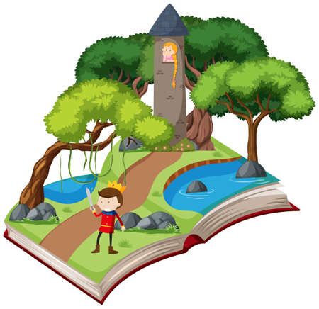 A book fairy tale story illustration Çizim