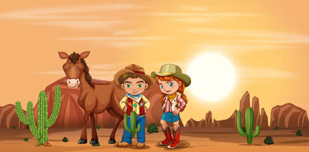 Children at the desert illustration