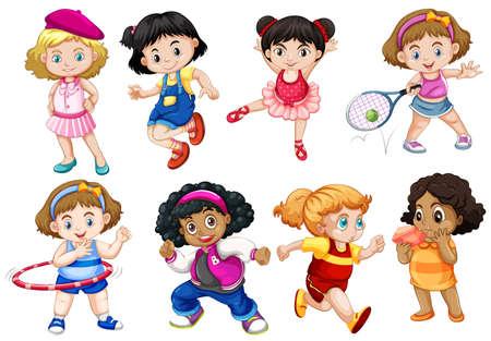 set of fun kids illustration