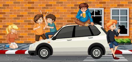 Problem ten in urban city illustration