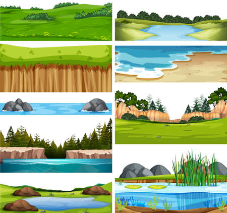Set of nature landscape illustration Çizim
