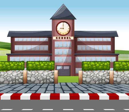현대 학교 건물 그림
