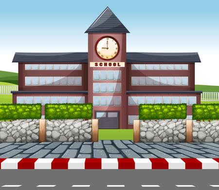 Un'illustrazione di un edificio scolastico moderno