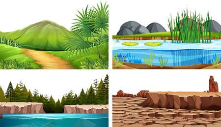 Set of natural background scenes illustration