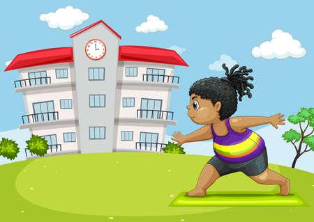 Girl doing yoga in park illustration